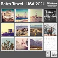 CALENDARIO 2021 RETRO TRAVEL - USA 30X30