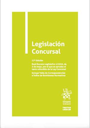 LEGISLACIÓN CONCURSAL. 27ª EDICIÓN 2020