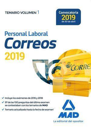 PERSONAL LABORAL DE CORREOS Y TELÉGRAFOS. TEMARIO VOLUMEN 1. MAD 2019