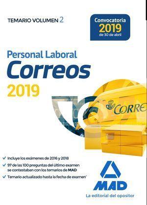 PERSONAL LABORAL DE CORREOS Y TELÉGRAFOS. TEMARIO VOLUMEN 2 MAD 2019