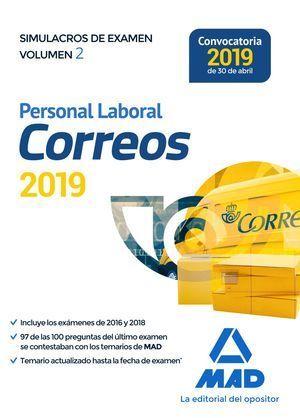 PERSONAL LABORAL DE CORREOS Y TELÉGRAFOS. SIMULACROS DE EXAMEN VOLUMEN 2 MAD 2019
