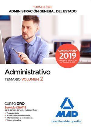 ADMINISTRATIVO ADMINISTRACIÓN GENERAL DEL ESTADO. TURNO LIBRE. (2019)