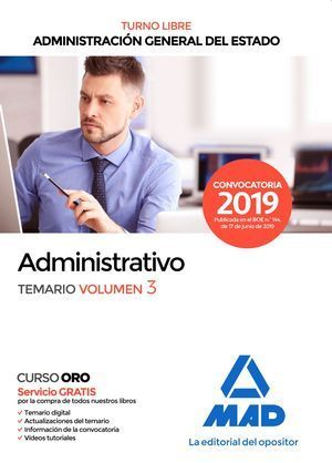 ADMINISTRATIVO DE LA ADMINISTRACIÓN GENERAL DEL ESTADO TEMARIO VOLUMEN 3