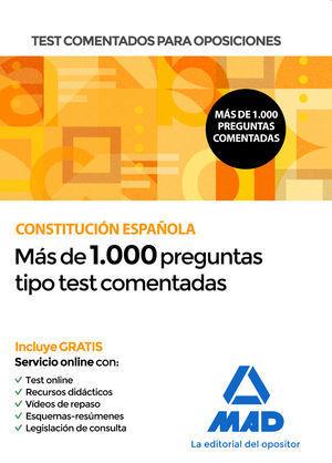 2020 TEST COMENTADOS PARA OPOSICIONES DE LA CONSTITUCIÓN ESPAÑOLA
