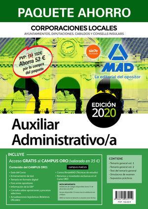 2020 PAQUETE AHORRO AUXILIAR ADMINISTRATIVO DE CORPORACIONES LOCALES. AHORRA 62 € MAD