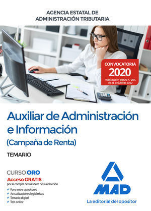 AUXILIAR DE ADMINISTRACIÓN E INFORMACIÓN (CAMPAÑA DE RENTA) DE LA AGENCIA ESTATA