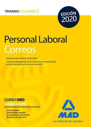 PERSONAL LABORAL DE CORREOS Y TELÉGRAFOS 2020. TEMARIO VOLUMEN 2 MAD