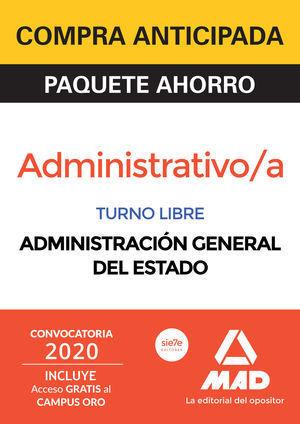 PACK AHORRO ADMINISTRATIVO ADMINISTRACIÓN GENERAL ESTADO 2020 MAD