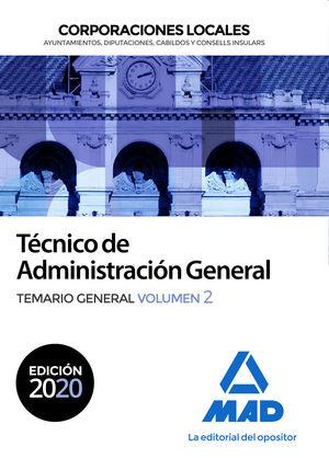 2020 TÉCNICO  DE ADMINISTRACIÓN GENERAL DE CORPORACIONES LOCALES. TEMARIO GENERAL VOL 2 MAD