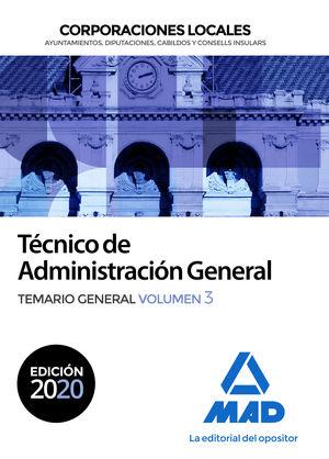 2020 TÉCNICO  DE ADMINISTRACIÓN GENERAL DE CORPORACIONES LOCALES. TEMARIO GENERAL VOL 3 MAD
