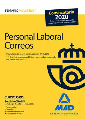 PERSONAL LABORAL CORREOS TEMARIO I 2020 MAD