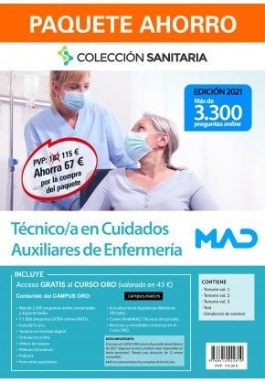 PACK MANUALES TÉCNICO EN CUIDADOS AUXILIARES DE ENFERMERÍA 2021 MAD