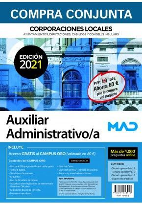 PACK AUXILIAR ADMINISTRATIVO/A DE CORPORACIONES LOCALES.
