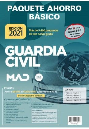 2021 PACK BASICO GUARDIA CIVIL TEMARIOS 1, 2, 3 Y 4 + TEST ONLINE MAD