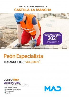 2021 PEON ESPECIALISTA JCCM TEMARIO Y TEST VOLUMEN I MAD