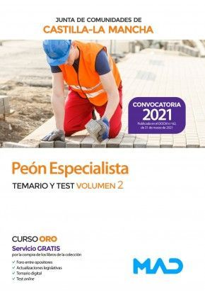 2021 PEÓN ESPECIALISTA JCCM TEMARIO Y TEST DE VOLUMEN 2 MAD