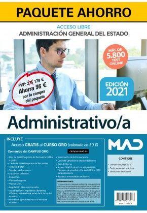 2021 PACK ADMINISTRATIVO/A GENETAL DEL ESTADO .ACCESO LIBRE. MAD
