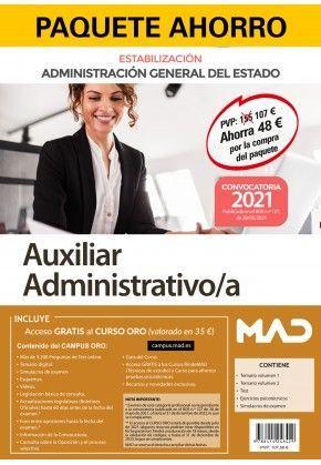 2021 AUXILIAR ADMINISTRATIVO/A GENETAL DEL ESTADO. ESTABILIZACIÓN.  MAD