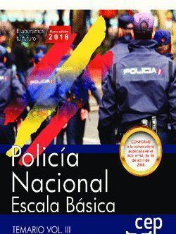 POLICÍA NACIONAL ESCALA BÁSICA 2018. TEMARIO VOL. III.